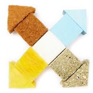 verschiedene Dämm-Materialien im Dach